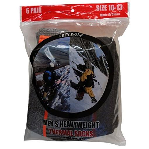 Grey Wolf Men's 6 Pairs Heavyweight Thermal Comfort Hiker Crew Length Sock