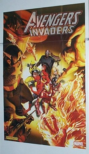 Avengers vs the Invaders 36 x 24 Marvel Comics Store Window Display Promo Poster by Alex Ross: Captain America/Submariner/Human Torch/Iron Man/Spider-man/Wolverine/Ms Marvel/Spider-Woman Alex Ross Spider
