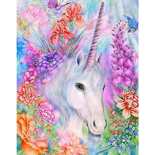 DIY 5D Full Diamond Painting by Number Kits, Crystal Rhinestone Diamond Embroidery Paintings Pictures Arts Craft for Home Wall Decor (Vintage Unicorn)