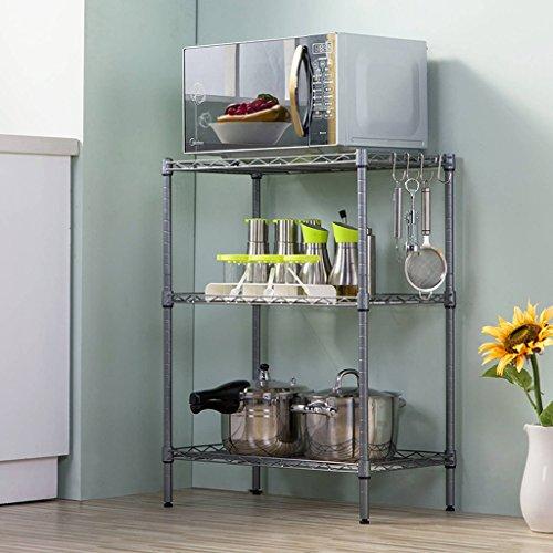 Kitchen Storage Three Layers Floor-Standing Oven Rack/Microwave Oven Shelf/Metal (Color : Tungsten Steel)