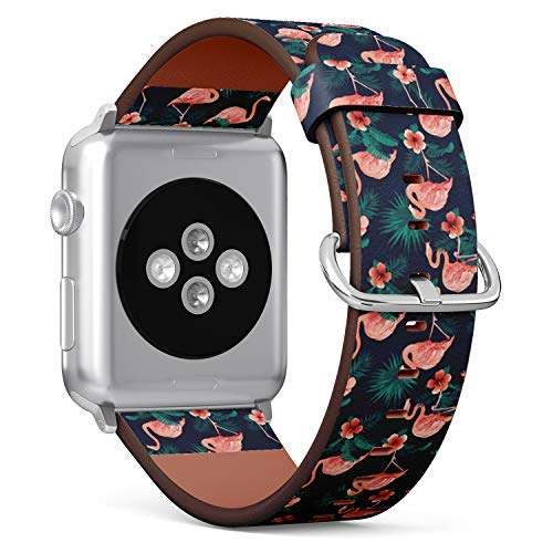 Flamingo Watch Bird - Compatible with Apple Watch 38mm & 40mm Leather Watch Wrist Band Strap Bracelet with Stainless Steel Clasp and Adapters (Beautiful Flamingo Bird Flowers)