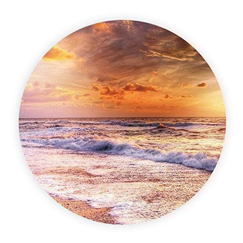 Beach Towel Round Roundie Throw Blanket Picnic Tapestry Table CoverSunrise, Seaside Landscape Pattern 57 inch