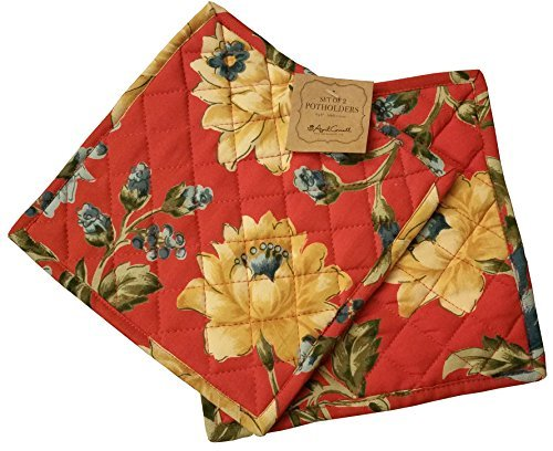 April Cornell Set of 2 Potholders 8 X 8 French Provencal Floral 100% Cotton Red/Yellow/Green/Blue
