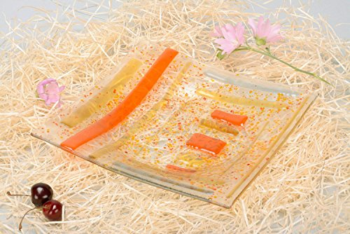Dish Made Of Fusing Glass ''Solar Crumbs'' by MadeHeart | Buy handmade goods