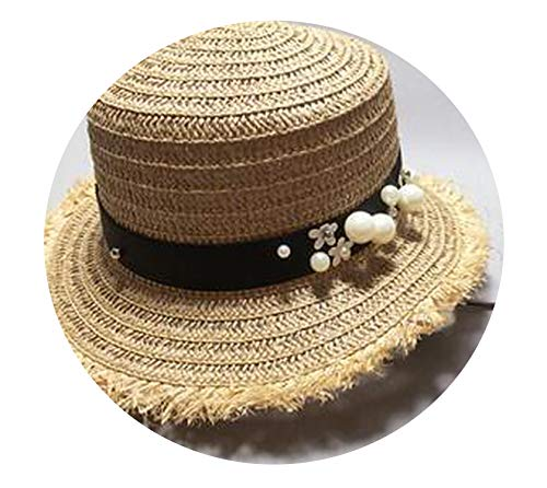Lovely Flat top Straw hat Summer Spring Women's Trip caps Leisure Pearl Beach Sun Hats,2,55-58cm ()