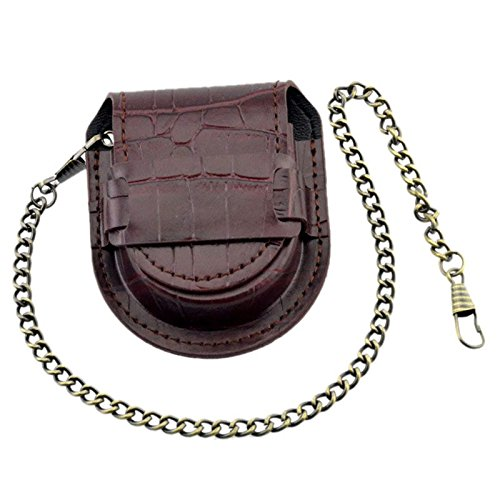 TOOGOO Vintage Leather Chain Pocket Watch Holder Storage Case Box Red brown (Holder Leather Pocket Watch)