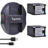 Tectra 2pcs BP-827 Batteries + Dual USB Charger for Canon VIXIA HF10 HF11 HF20 HF21 HF100 HF200 HF G10 HF M30 M31 M32