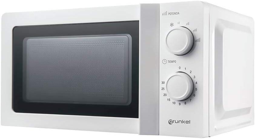 Grunkel - Microondas blanco de 20 litros de capacidad y 700W. 6 niveles de potencia, función descongelación y temporizador hasta 30 minutos. Fácil apertura con tirador. Modelo MW-20IG
