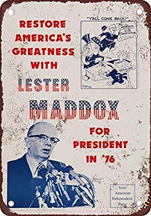 Liz66Ward Lester Maddox for President Metal Signs Vintage,Man Cave Sign,Garage Decor Sign,Metal Wall Tin Sign,Decorative Plaque for Gifts]()