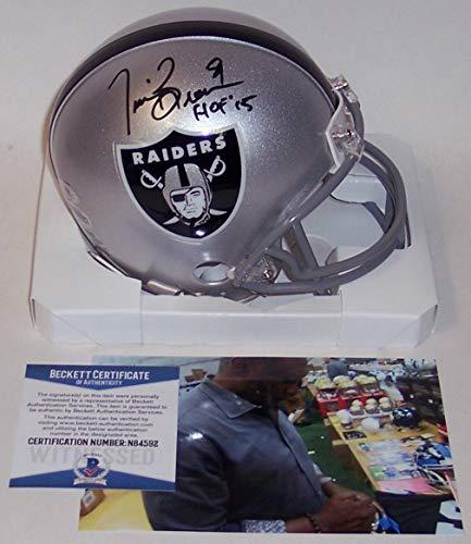 (Tim Brown Autographed Hand Signed Raiders Mini Football Helmet - with HOF 2015 Inscription - BAS Beckett)