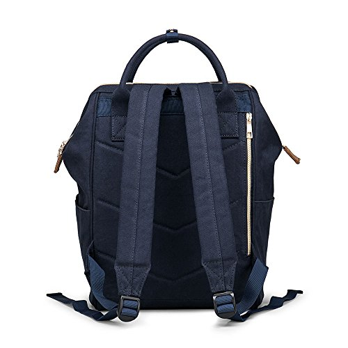 Multifunction Canvas Backpack Travel Bags for Man Woman Casual Laptop Rucksack (Dual Pockets x Blue EB) by Ebesa (Image #2)