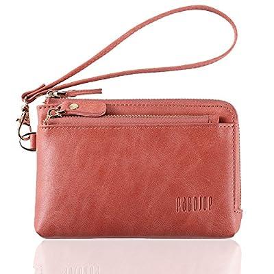 Womens Wallets Soft Leather Zipper Hand Purse Minimalist Wristlet Handbags for Ladies Pabojoe