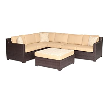 Hanover Metropolitan 5 Piece Outdoor Lounge Set, Sahara Sand