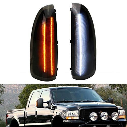 iJDMTOY Switchback LED Side Mirror Marker Lamps For 2003-2007 Ford F250 F350 Superduty, 2000-2005 Ford Excursion, (2) Smoked Lens, White LED Parking Light, Amber LED Turn Signal Light
