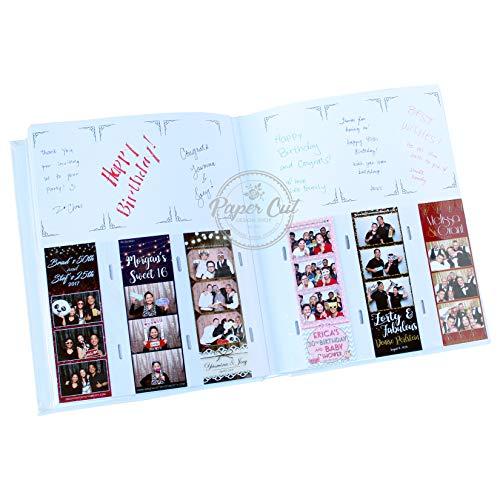Paper Cut Design Shop Photo Booth Album Slip-in Plastic Slots with Keepsake Box Elegant Leatherette Album 2x6 Photos - - Album 2 Inch