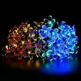 Solar String Lights, BIRUGEAR Decorative Flower Solar Powered String Lights 50 LED For Outdoor, Gardens, Lawn, Patio, Wedding, Christmas, Parties - Multi-Color / 33 Feet