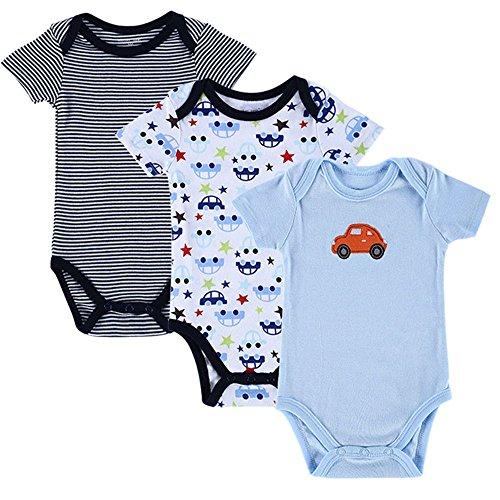 (Mothernest Baby Boys' Bodysuits Cotton Long Sleeve Layette Sleeper (Blue Stripe+Cars+Blue Car, 10-12Months))