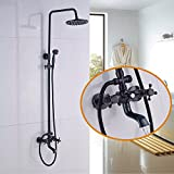 wall faucets for tubs - Rozin Wall Mounted Bath Rainfall Shower Set Tub Faucet with Handheld Spray Oil Rubbed Bronze