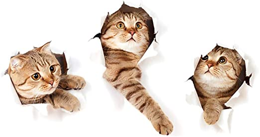Tres Gatitos Pegatinas Pared Decorativas Animales 3D Gato Vinilos ...