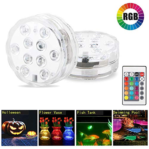 Shyshining Underwater Submersible Led Lights Remote Control, Waterproof Pond Light Multi Color Battery Powered Vase Based Floral Lamp Wedding Party Pool (Os Light Ein)