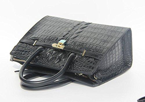 bandoulière crocodile sac Femme Jsix Noir motif à Cuir besace EN main à CARTABLE sac Serviette croco AFqPq
