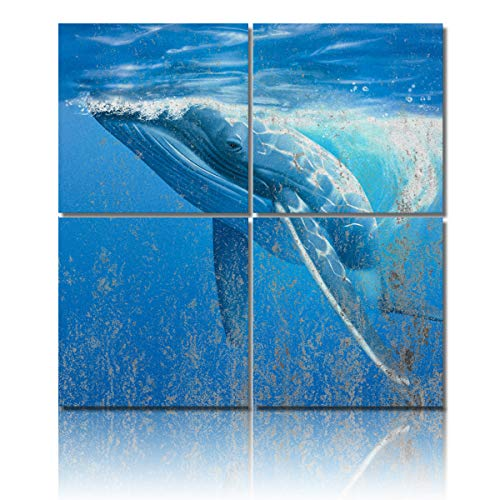 - 4 Piece Canvas Painting Wall Art Decor,Mottled,Whale in The Blue Sea Modern HD Pictures Artwork Canvas Prints Giclee Art for Home/Office/Kitchen Framed Ready to Hang 24x24Inch x4Panels