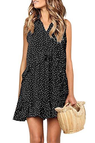 Mystry Zone Women's Summer Boho Polka Dot Sleeveless V Neck Swing Tank Top Dress Black X-L ()