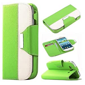 Candywe Leather Flip Wallet Case with Credit/ID Card Slot For Samsung Galaxy S3 SIII I9300 Green/White
