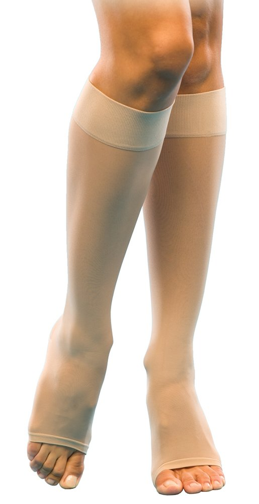 SIGVARIS Women's SHEER FASHION 120 Open Toe Calf Compression Hose 15-20mmHg by SIGVARIS