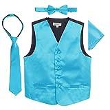 Gioberti Boys 4pc Satin Formal Vest Set, Turquoise, 4-5