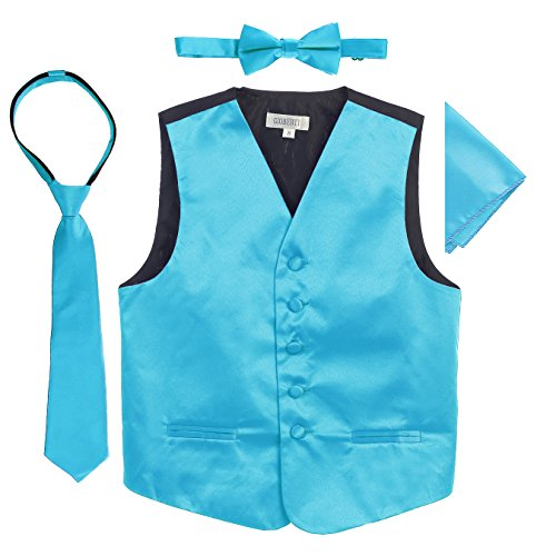 Gioberti Boys 4pc Satin Formal Vest Set, Turquoise, 6-7 (Vest Tuxedo Turquoise Satin)