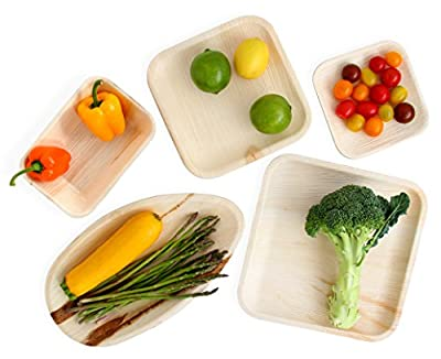 Leafily Palm Leaf Plates, Bowls and Trays - Heavy Duty - Elegant - 100% Compostable - Better than Bamboo or Wood - Disposable - Biodegradable - Premium Party Plates - USDA Certified