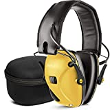 Electronic Shooting Earmuff, Noise Reduction Sound Amplification Electronic Safety Ear Muffs and Storage Case, Yellow ...