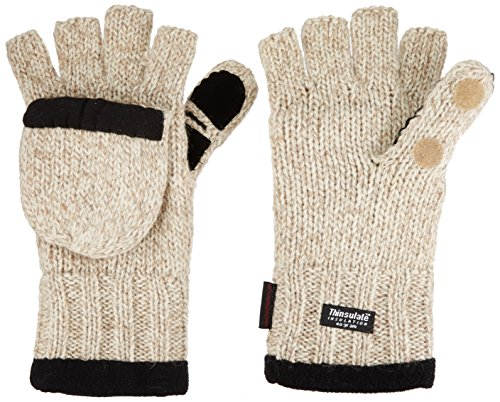 Heat Factory Fleece-Lined Ragg Wool Gloves with Fold-Back Finger Caps and Hand Heat Warmer Pockets, Women's ()