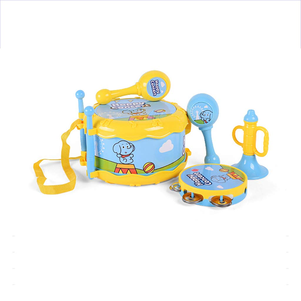 Music Joy Musical Instrument Combination Children's Rattle Trumpet Sand Hammer Hand Drums Play House Toy Set (Color : Blue)