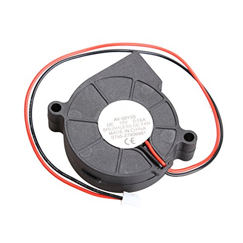 LiChiLan Blower,Black Brushless DC Cooling Blower Fan 2 Wires 5015S 12V 0.06A 50x15mm ()