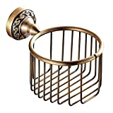DSYLD Hotel Accessories Euro Style Carved Wall Mounted Paper Towel Basket Retro Antique Brass Toilet Paper Holder For Bathroom Accessory Antique Copper-Colored(21.51614cm) Shower Accessories