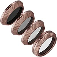 Neewer 4 Pieces Filter Kit for the DJI X4S Camera (Inspire 2), Includes: CPL, ND4, ND8 and ND16 Filter, Made of Optical Glass, Aluminum Alloy Frame (Gold)