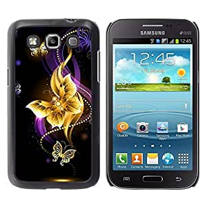 Design for Girls Plastic Cover Case FOR Samsung Galaxy Win I8550 Butterfly Black Colorful Purple Fire OBBA