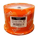 Titan Duplication Grade White Inkjet Hub Printable 8X 8.5GB DVD+R Double Layer DL Media 50 Pack in Cake Box