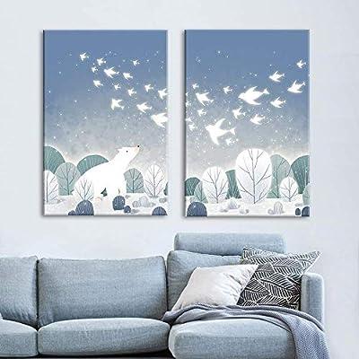 "2 Panel Canvas Wall Art - Cartoon Animals - Polar Bear on The Ice with Birds - Giclee Print Gallery Wrap Modern Home Art Ready to Hang - 16""x24"" x 2 Panels"