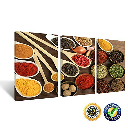(Kitchen Themed Wall Decor Art Colorful Spice and Spoon In Table Still Life Artwork Painting Food Concept Retro Picture Print On Canvas 3 Sets Frame Pictures Gift (Kitchen Art 1, 16x24Inchx3 Panels) )