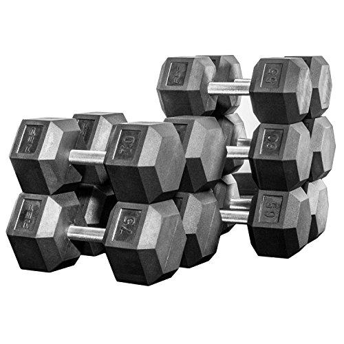 Rep Rubber Hex Dumbbell Set, 5-50, 5-75, 5-100, 55-75, 55-100, 80-100, 105-125 or 2.5-27.5 lb Dumbbell Set Options