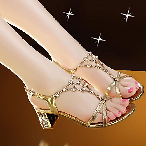 amp; Heel Buckle LvYuan Chunky Chaussures Party strass Women's Fashion Sandals Dress Summer Evening Or RRwc6XfAqZ