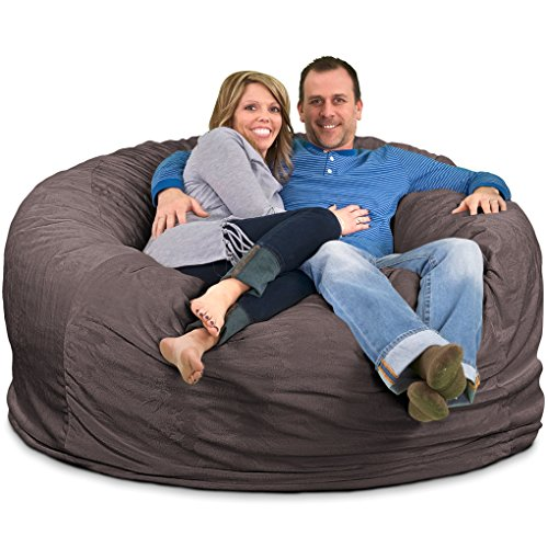 Ultimate Sack 6000 Bean Bag Chair: Giant Foam-Filled Furniture - Machine Washable Covers, Double Stitched Seams, Durable Inner Liner, and 100% Virgin Foam. Comfy Bean Bag Chair. (Grey, Suede) by Ultimate Sack