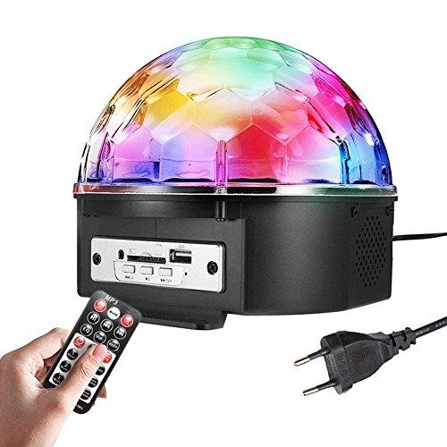 SOLMORE 18W 220V Lampe de Scène RGB LED 9 Couleurs Commande Sonore avec Télécommande Enceinte Haut-Parleur Lecture de Musique Jeux de Lumière Disco Light Spot Projecteur Effet DJ Éclairage