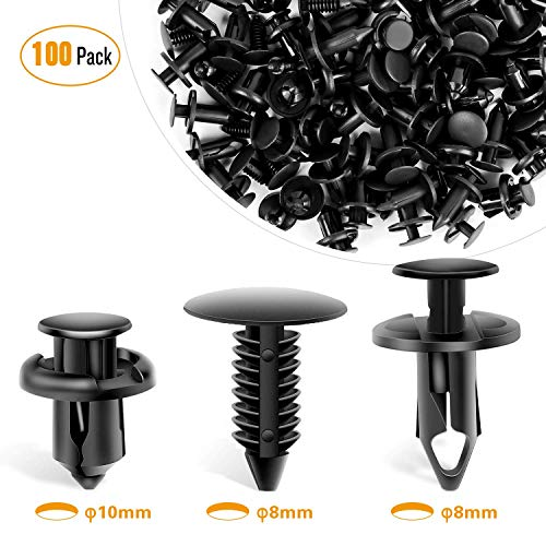 100 Mud Shield Retainer Nylon Clip Push Type Rivet For GM For Ford For Chrysler