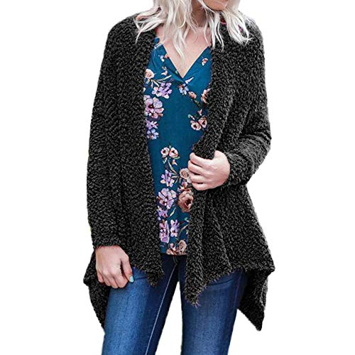 CUCUHAM Womens Ladies Solid Irregular Hem Long Sleeve