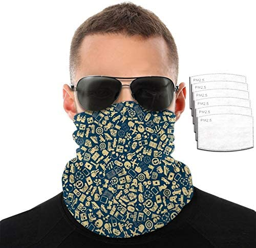 CAOMEII Blauw Gaming Patroon Neck Gaiter Gezichtsmasker Herbruikbaar Doek Wasbaar Bandana Gezichtsmasker Cover Balaclava Sjaal Shield