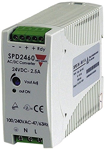 CARLO GAVAZZI SPD24601 DIN Rail Mount Switching Power Supply, 40.5 mm Wide, 85-264 VAC or 90-365 VDC Supply Voltage, Adjustable 24VDC, 2.5 amp, 60 W output, 89% Efficiency, Power Ready Output, IP20 Cover, Diagnostic LED, 18.5 oz. Size, 155 mm Height x 57